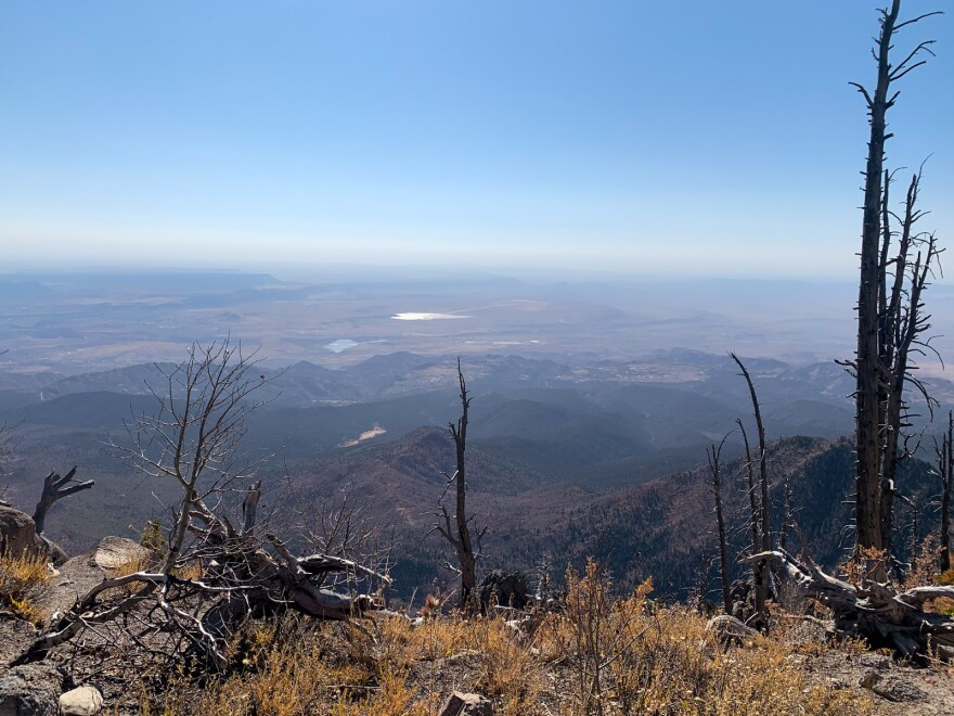 A view of the desert, seen from a mountain top
