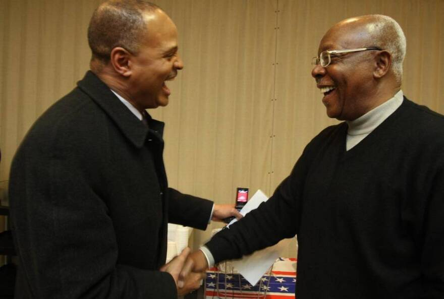 Alvin Parks and Eddie Lee Jackson in this file photo from Feb. 2 2010. Parks said Jackson worked worked behind the scenes helping to better the East St. Louis community.
