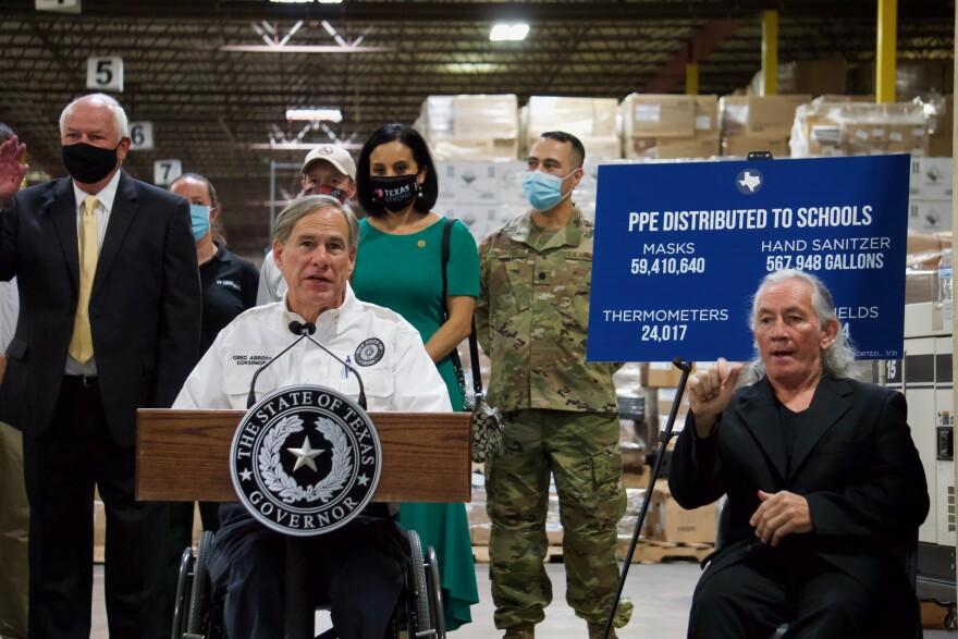 Gov. Greg Abbott speaks in San Antonio on Aug. 4, 2020.