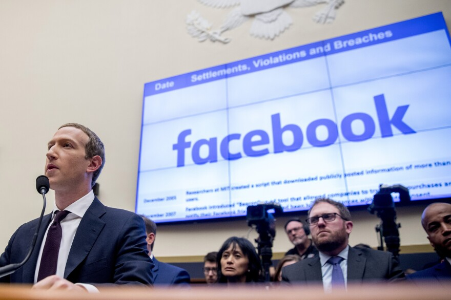 Facebook CEO Mark Zuckerberg testifying before a House Financial Services Committee hearing in 2019.