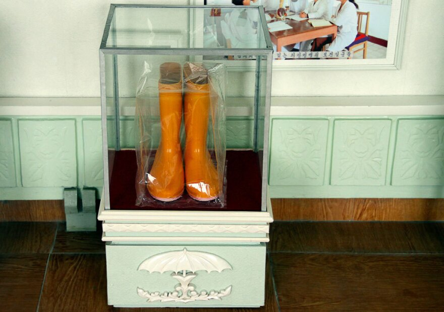 These rubber boots were encased in glass after Kim Jong Il looked at them.
