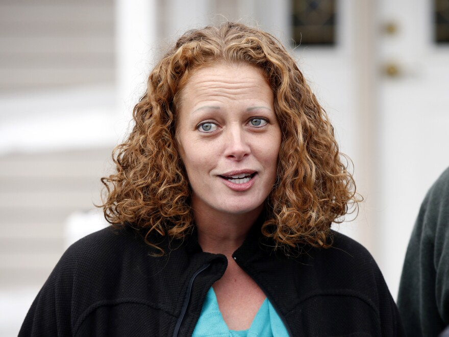 Nurse Kaci Hickox speaks to the media last year outside her home in Fort Kent, Maine. Hickox, who sharply protested being quarantined at a New Jersey hospital in 2014 after she returned from treating Ebola patients in West Africa, has filed a lawsuit against the state of New Jersey.