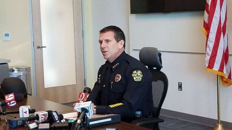 Orlando Police Chief John Mena briefs the media after the release of the DOJ's after-action report.