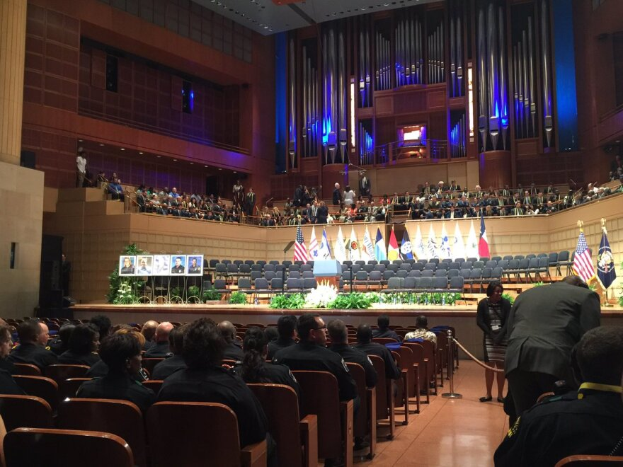 Inside the Morton H. Meyerson Center for the memorial service.