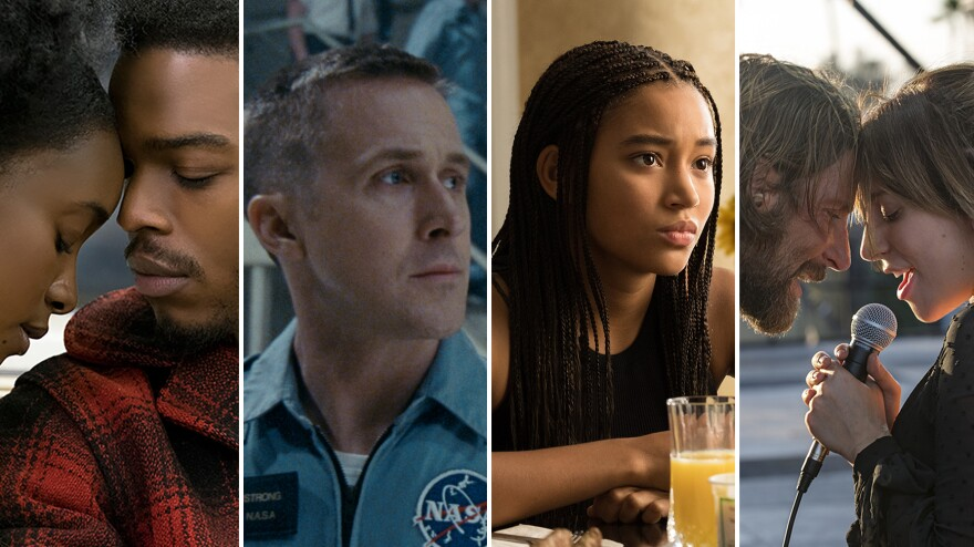 Coming to you this fall, from left: KiKi Layne and Stephan James in <em>If Beale Street Could Talk</em>, Ryan Gosling in <em>First Man</em>, Amandla Stenberg in <em>The Hate U Give,</em> and Bradley Cooper and Lady Gaga in <em>A Star Is Born</em>.