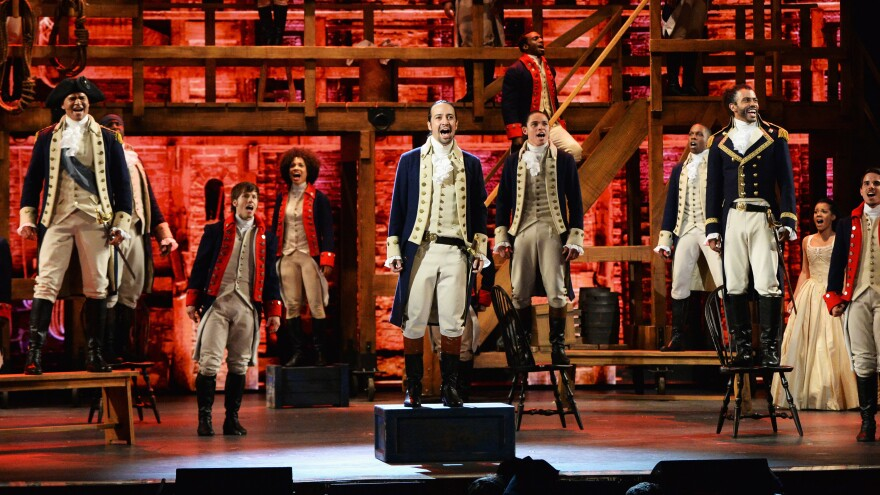 Christopher Jackson, Lin-Manuel Miranda, Anthony Ramos, Daveed Diggs, and the company of <em>Hamilton</em> perform onstage during the 70th Annual Tony Awards.