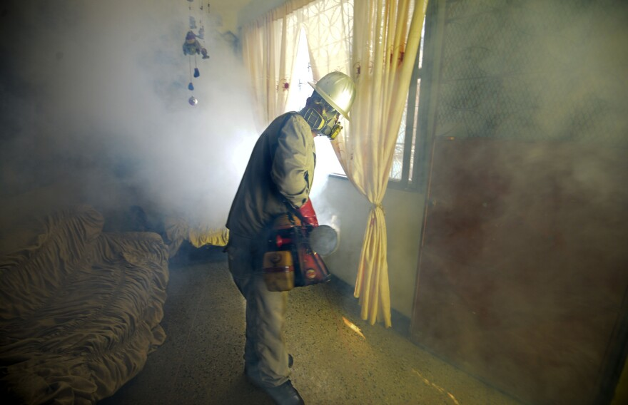 A Health Ministry employee fumigates against the <em>Aedes aegypti</em> mosquito, which can carry the Zika virus, at a home in Caracas, Venezuela, on Jan. 28.