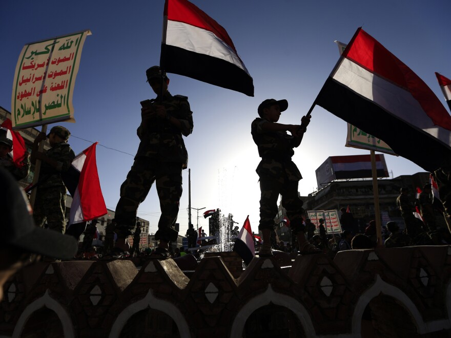 Supporters of Ansarallah, also known as the Houthi movement, gather last year to commemorate the anniversary of the group's takeover of Yemen's capital, Sanaa.