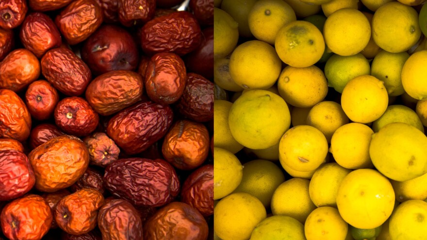 The bounty at Iskashitaa include jujubes, left, and limes, right.