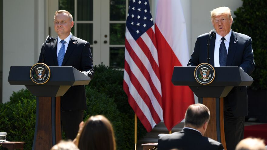 President Trump and Polish President Andrzej Duda hold a joint press conference Wednesday in the Rose Garden of the White House.