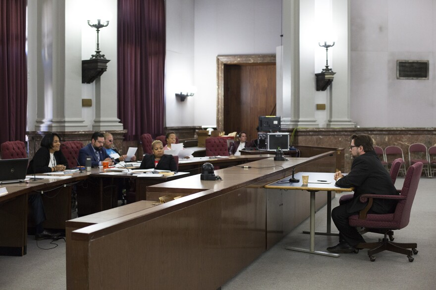 Joe Hodes, 16th Ward Republican committeeman, introduces himself to a committee of the Board of Aldermen on Monday. Hodes is one of nine people Mayor Lyda Krewson has nominated to serve on the Board of Freeholders. Oct. 7, 2019