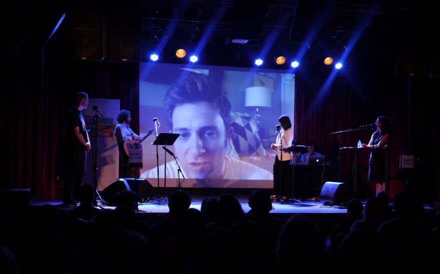 Through the wonders of technology, actor Tom Lenk — who played Andrew on <em>Buffy the Vampire Slayer --</em> serves as <em></em>V.I.P. Emily Nussbaum's lifeline during her quiz at The Bell House in Brooklyn, NY.
