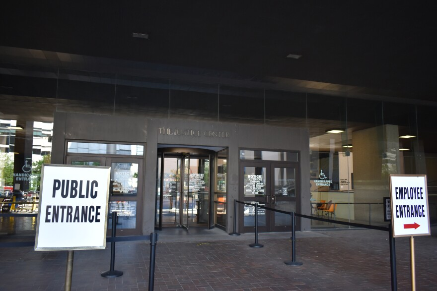 A photo of the outside of the Justice Center, with its entrance on Ontario Street in downtown Cleveland.