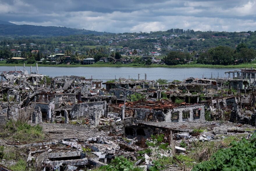 A general view shows destroyed buildings in Marawi on the southern island of Mindanao last year.