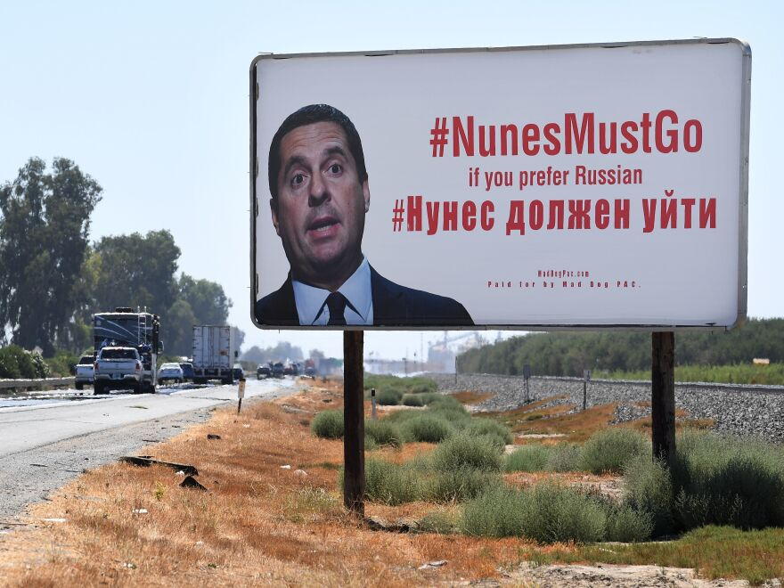 A billboard expressing opposition to Rep. Devin Nunes, R-Calif., is seen on a highway that runs through his hometown of Tulare, Calif. Nunes has drawn criticism from his opponents for his handling of the investigation into potential ties between President Trump and Russia.