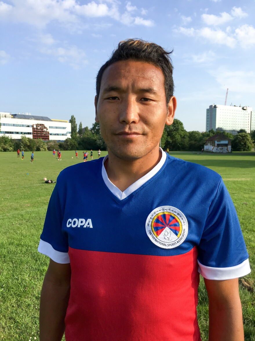 "Gelek Wangchuk, a member of the Tibetan team at a world event in London, fell in love with soccer as a 9-year-old living in a settlement of Tibetan refugees: ""I started playing football only for enjoyment without any shoes."""