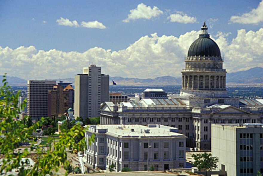 Photo of Intermountain Medical Center and Utah Capitol.