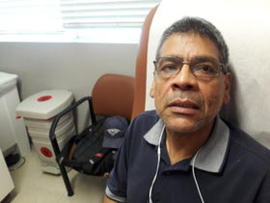 Guillermo Porras visits the South Miami Health Center. The center was closed for a week because it was without electricity.