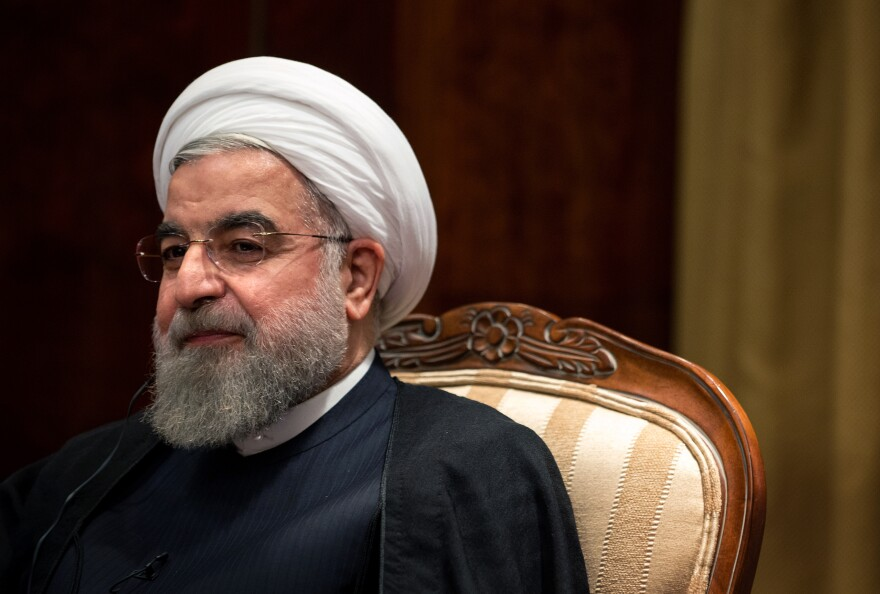 Hassan Rouhani, Iran's president, speaks with NPR's Steve Inskeep in New York on Saturday. Rouhani offered his thoughts on Syria's future, the recent nuclear deal between world powers and Iran, freedom of expression and other issues.
