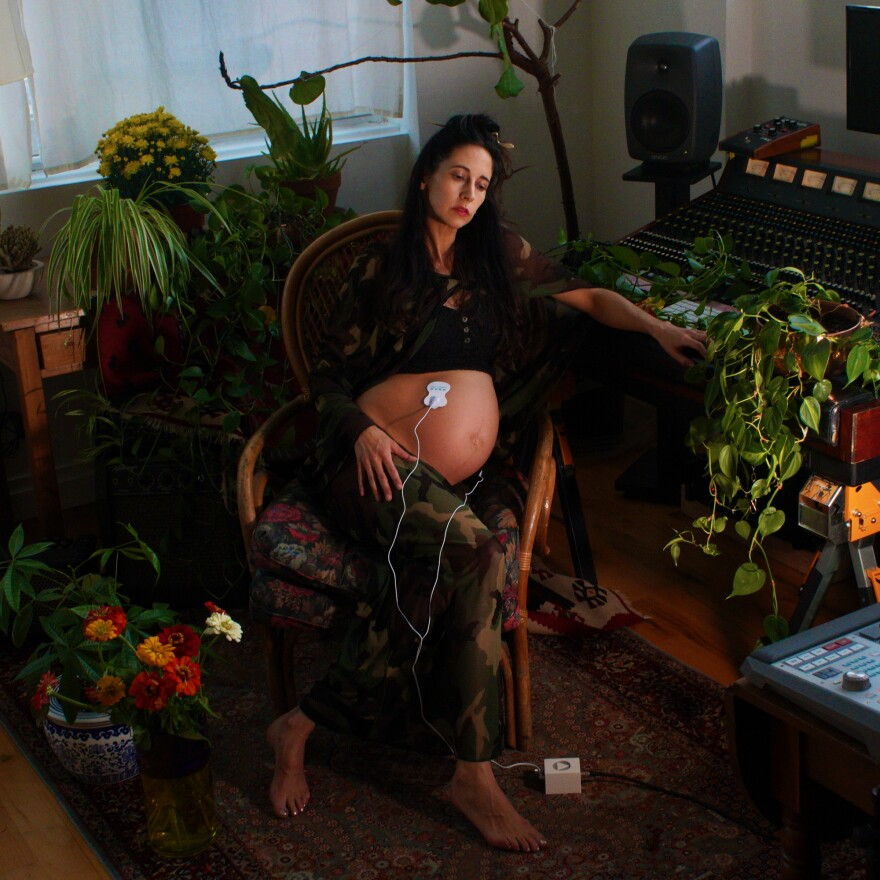 """Elizabeth Hart during the recording of """"Sounds of the Unborn."""" (Naomi Fisher)"""