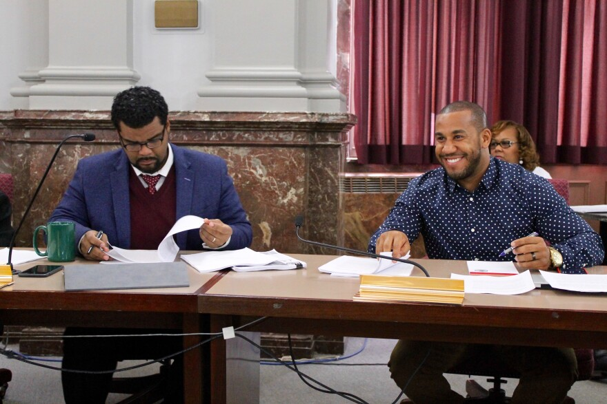 Aldermen Antonio French, D-21st Ward, and Chris Carter, D-27th Ward, at Thursday's Ways and Means Committee. French voted for the bill, while Carter voted against it.