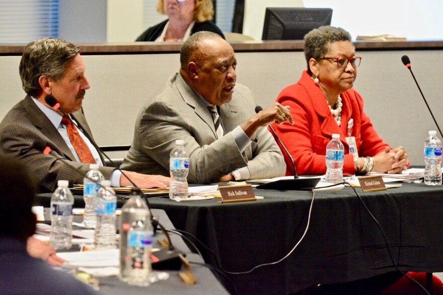 A three-person Special Administrative Board has governed St. Louis Public Schools since 2007. Members Rick Sullivan, Richard Gaines and Darnetta Clinkscale at a meeting in March 13, 2018.