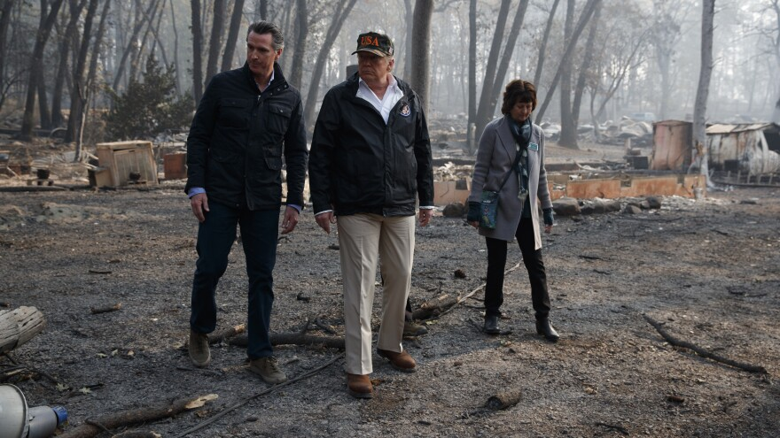 President Trump visited Paradise, Calif., with Gov.-elect Gavin Newsom and Mayor Jody Jones. The town was consumed by the Camp Fire, the most destructive fire in state history.