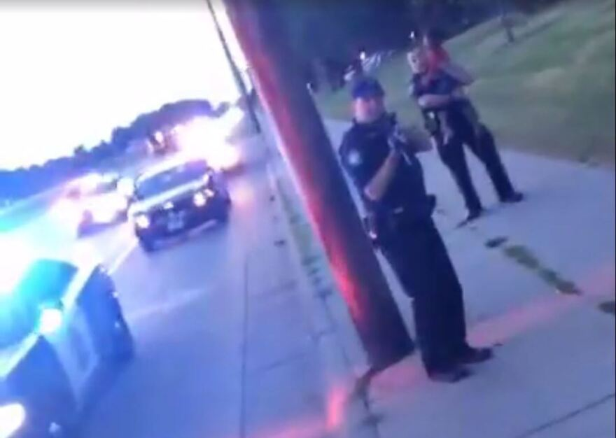 A screenshot from the live video feed that was posted by a woman whose boyfriend was shot and killed in Falcon Heights, Minn., on Wednesday.