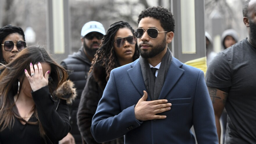 Actor Jussie Smollett arrives at the Leighton Criminal Court Building for his hearing Thursday in Chicago.