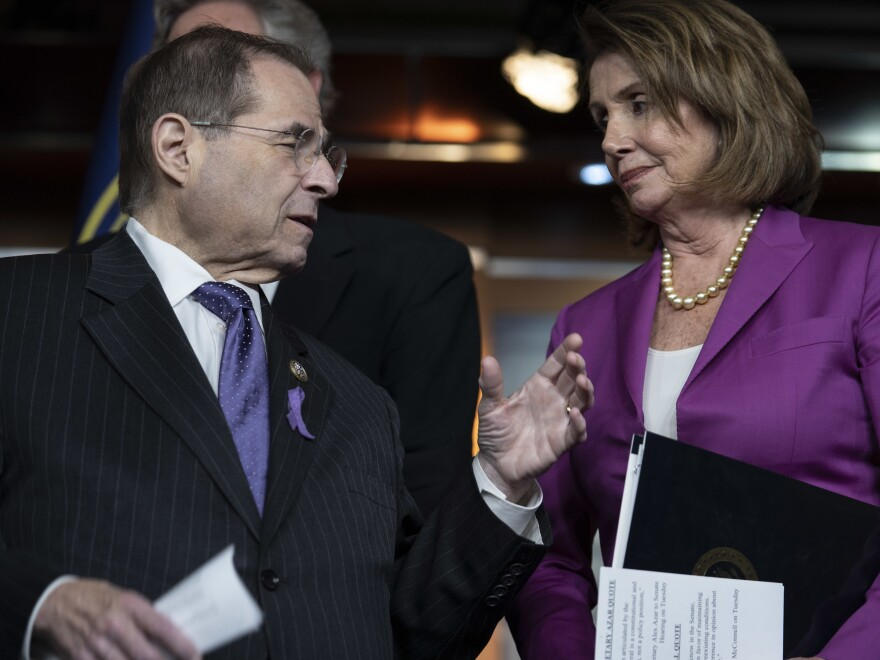 House Judiciary Committee Ranking Member Jerry Nadler talks with Minority Leader Nancy Pelosi. Top Democrats say that if they take control of the House, they'll focus on investigating — not impeaching — President Trump.