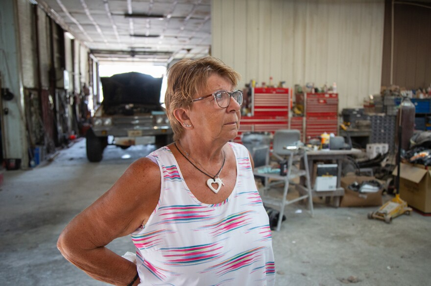 "Linda Findley's husband, Robert, opened Findley Body Repair in 1975. Linda says she doesn't know what she's going to do with the Fort Scott, Kan., business. She kept two workers on for six weeks after Robert's death to close out active orders. ""I guess I'll have to have an auction someday,"" Findley says."