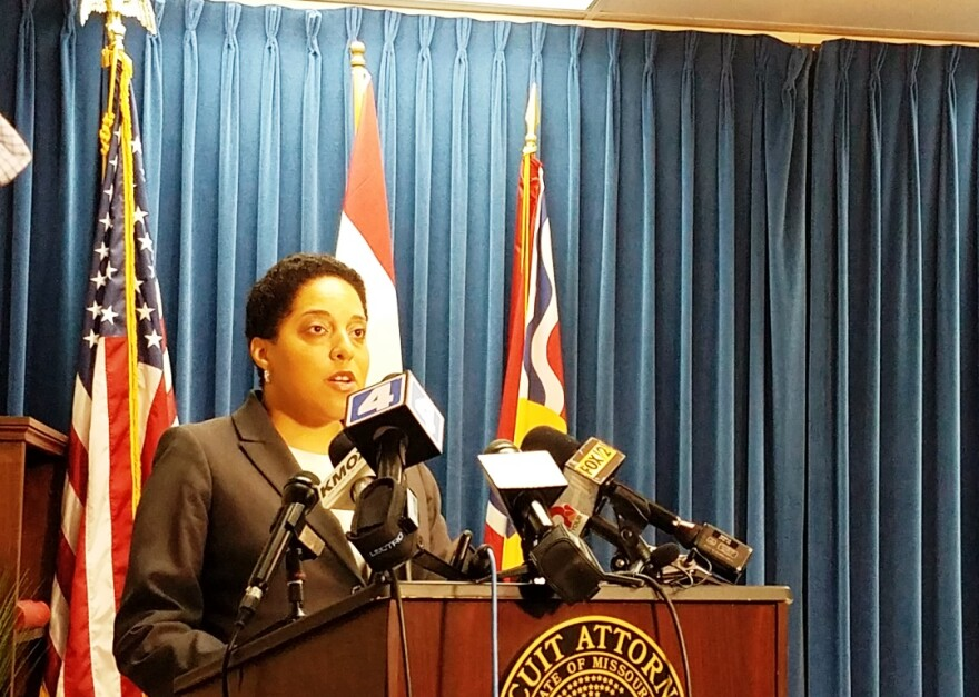 St. Louis circuit attorney Kim Gardner announces on May 30, 2018, that her office will drop a felony computer-tampering charge against Gov. Eric Greitens.