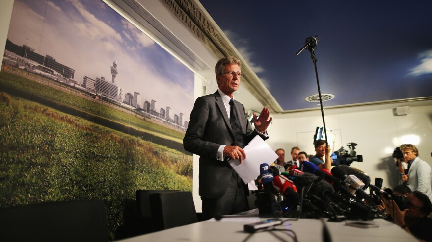 At a July 18 press conference at Amsterdam's Schiphol Airport, Vice President of Malaysia Airlines Europe Huib Gorter talk about the crash of flight MH17.