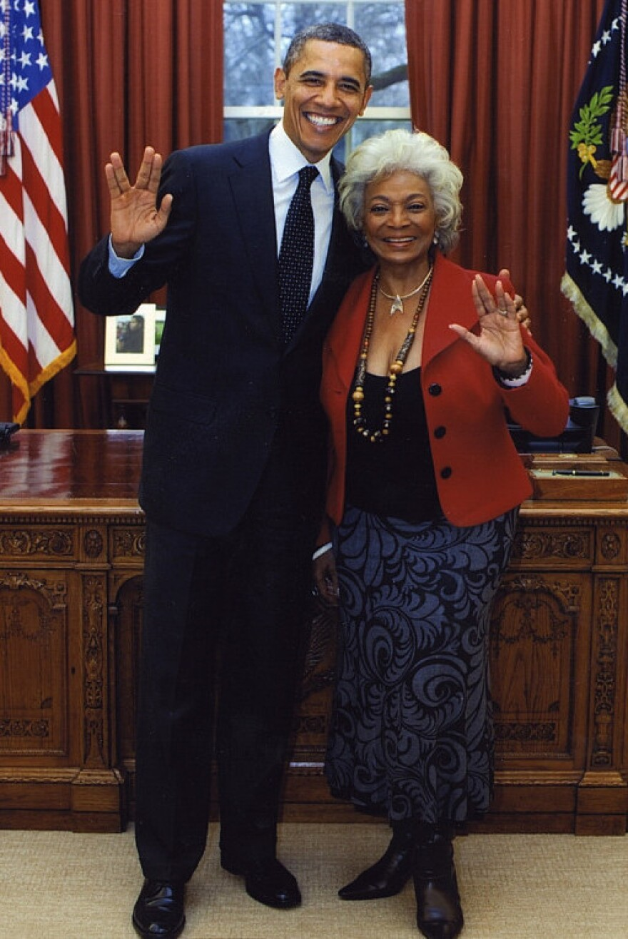 """He does know about """"live long and prosper."""" President Obama with actress Nichelle Nichols (Star Trek's Lt. Uhura) in the Oval Office one year ago."""