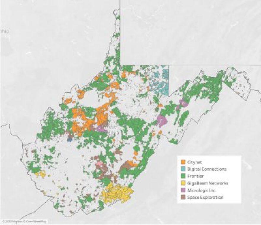 West  Virginia Broadband Auction Map