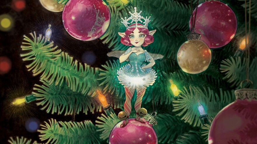 Illustrator Tony DiTerlizzi based <em>The Broken Ornament</em>'s Christmas fairy Tinsel on his wife, Angela, who helped with the book.
