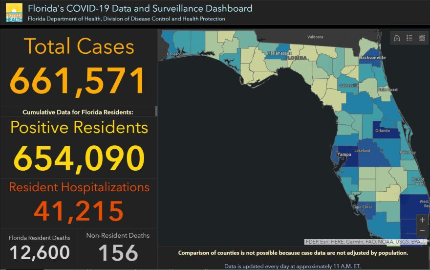 Florida Department of Health dashboard from Sept. 12