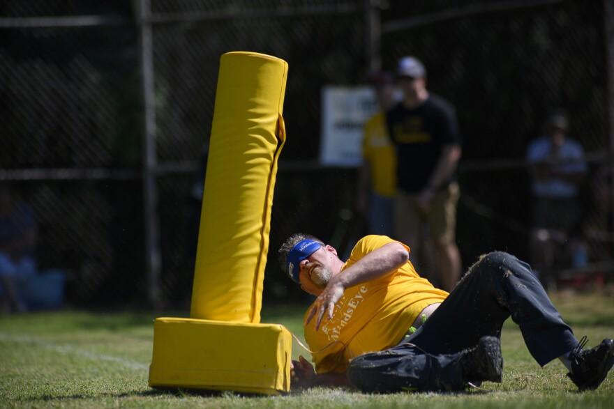 Johnny Savisky dives for the pylon. July 13, 2019