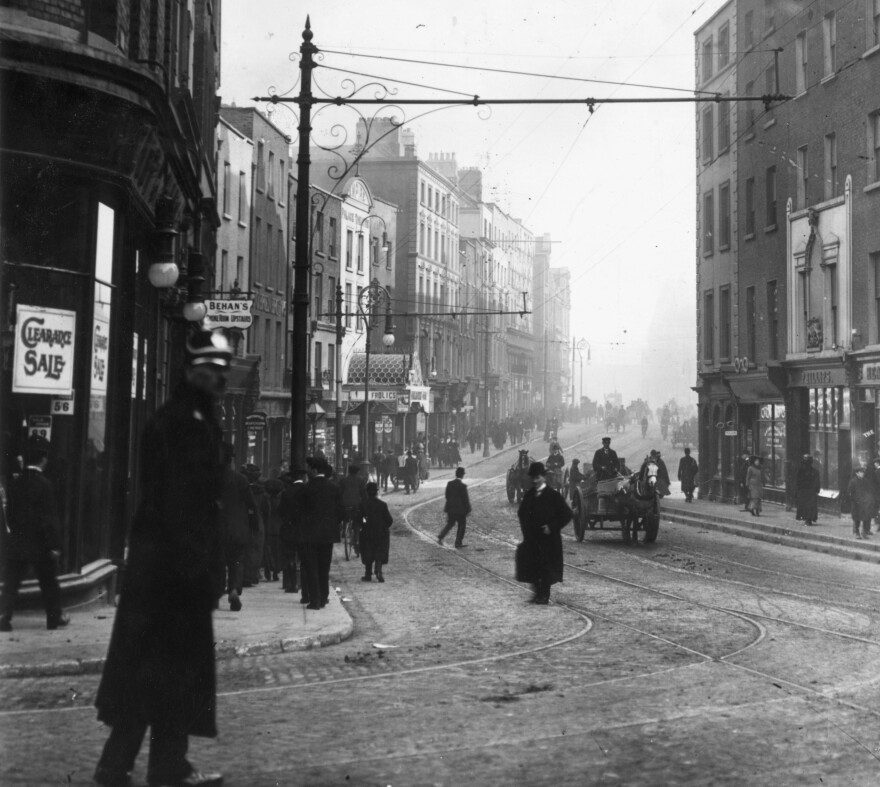 A sinkhole that opened on Dame Street in Dublin, Ireland, this week is suspected of being caused by an old tunnel lawmakers used to visit brothels. The street is seen here in 1911.