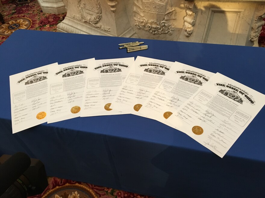 The certificates of votes signed by Ohio's 18 electors in 2016.