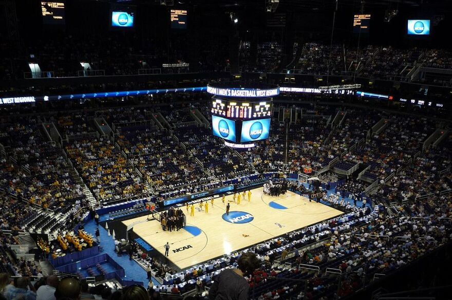 An NCAA basketball court