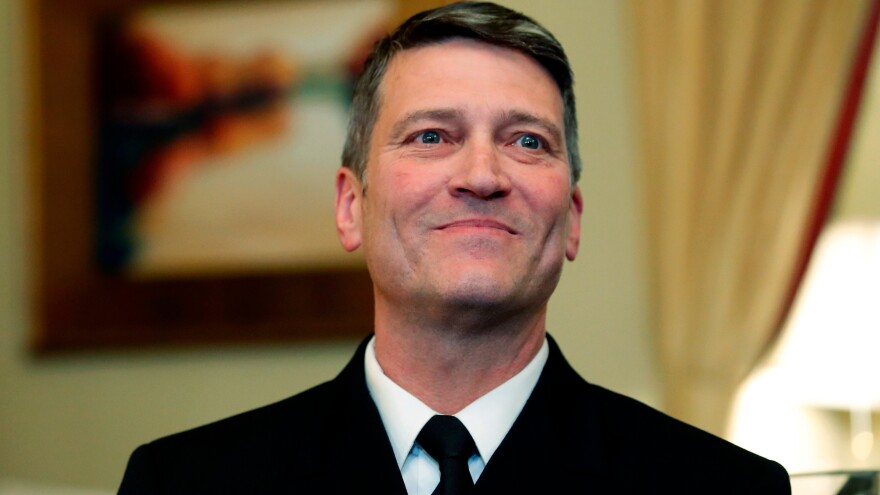U.S. Navy Rear Adm. Ronny Jackson, M.D., before a meeting on Capitol Hill in Washington, D.C., earlier this month. Jackson, who abandoned his nomination to be secretary of Veterans Affairs amid numerous allegations, will not return to the job of President Trump's personal physician but will remain on the White House medical staff, <em>Politico</em> reported Sunday.