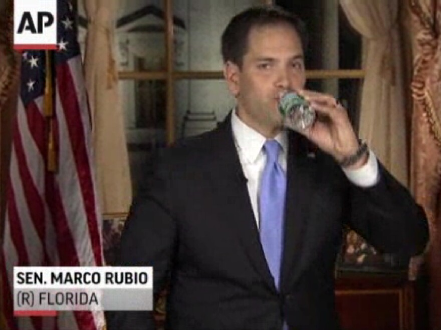 In this frame grab from video, Florida Sen. Marco Rubio takes a sip of water during his Republican response to then-President Barack Obama's State of the Union address, Tuesday, Feb. 12, 2013.