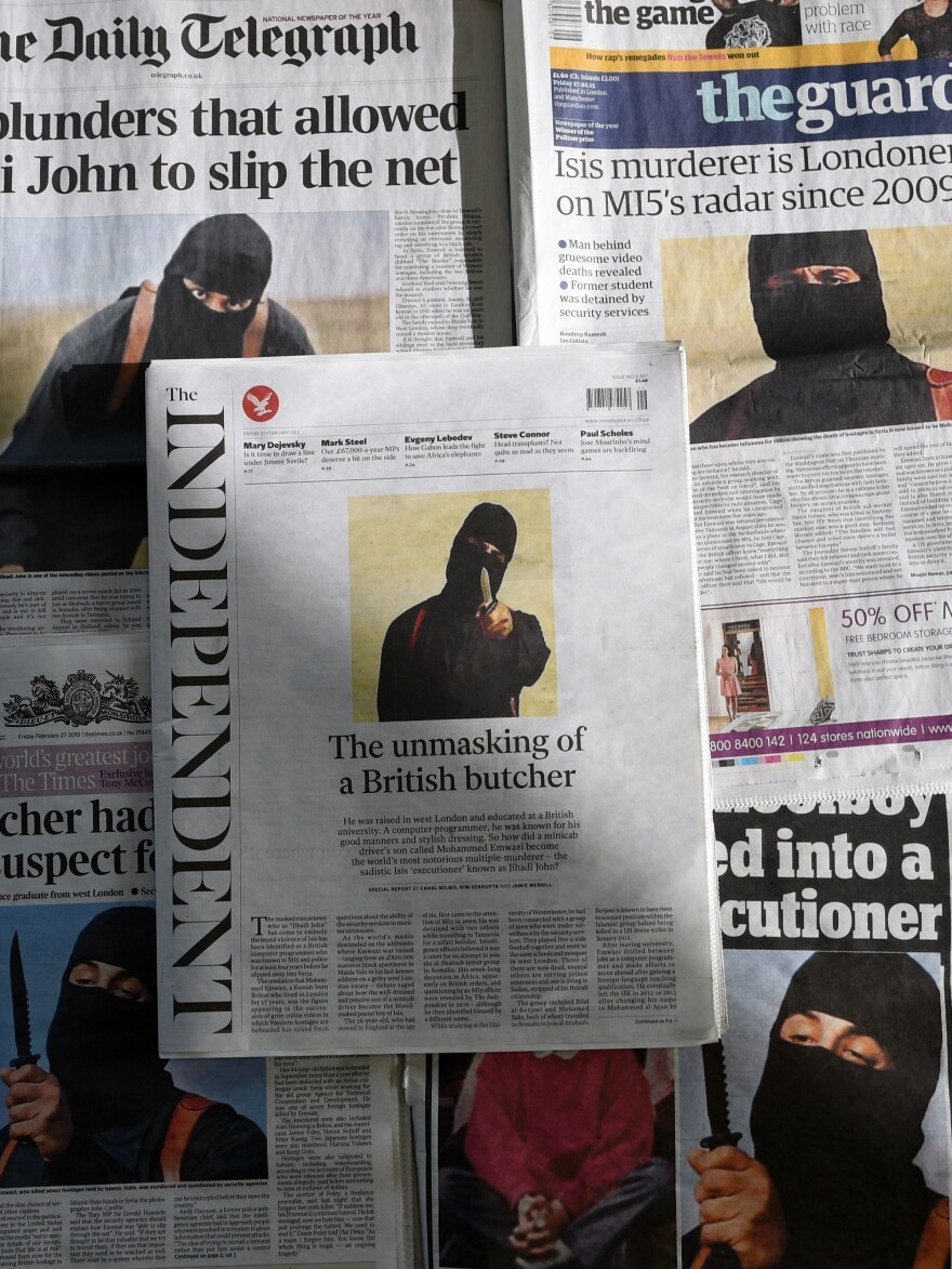 British daily newspapers from earlier this year showed the masked killer now identified as ISIS figure Mohammed Emwazi. He was targeted Thursday by the U.S. in an airstrike in Raqqa, Syria.