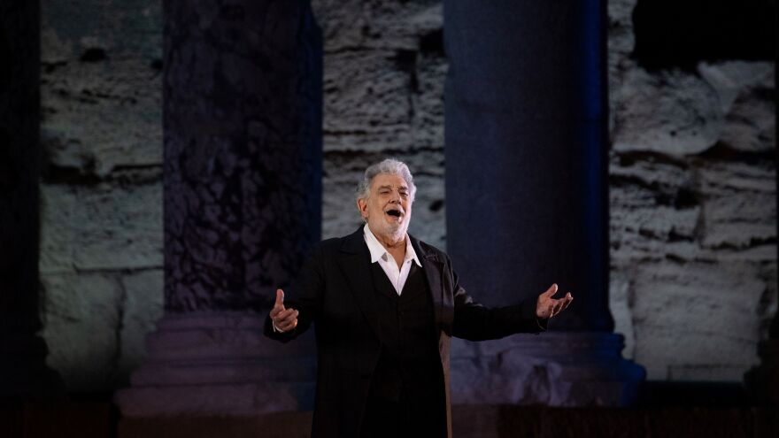"Plácido Domingo, 78, performs onstage during the dress rehearsal of ""Spanish Night"" at the 150th Choregie in Orange, France, in July."