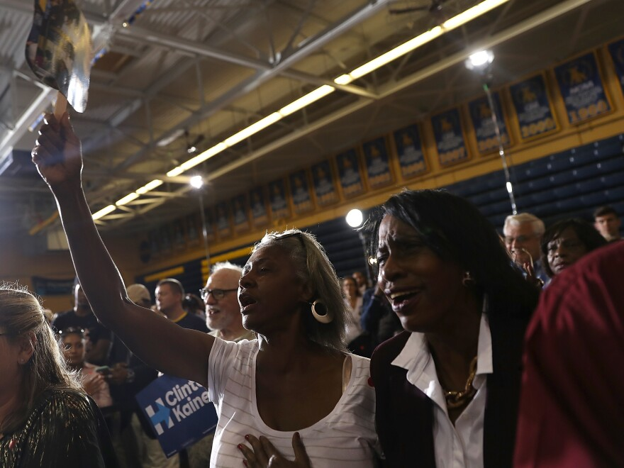 Supporters cheer as Democratic presidential nominee Hillary Clinton speaks at an event at Johnson C. Smith University on Sept. 8. Yet a visit to the school reveals that many of its students have much more mixed feelings on the election.