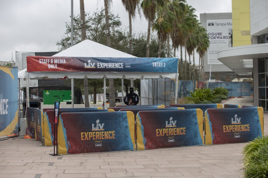 Setting up for Super Bowl Experience