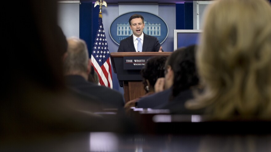 """The Trump campaign, for months now, has had a dustbin-of-history-like quality to it, from the vacuous sloganeering to the outright lies to even the fake hair, the whole carnival-barker routine that we've seen for some time now,"" White House Press Secretary Josh Earnest said on Tuesday."