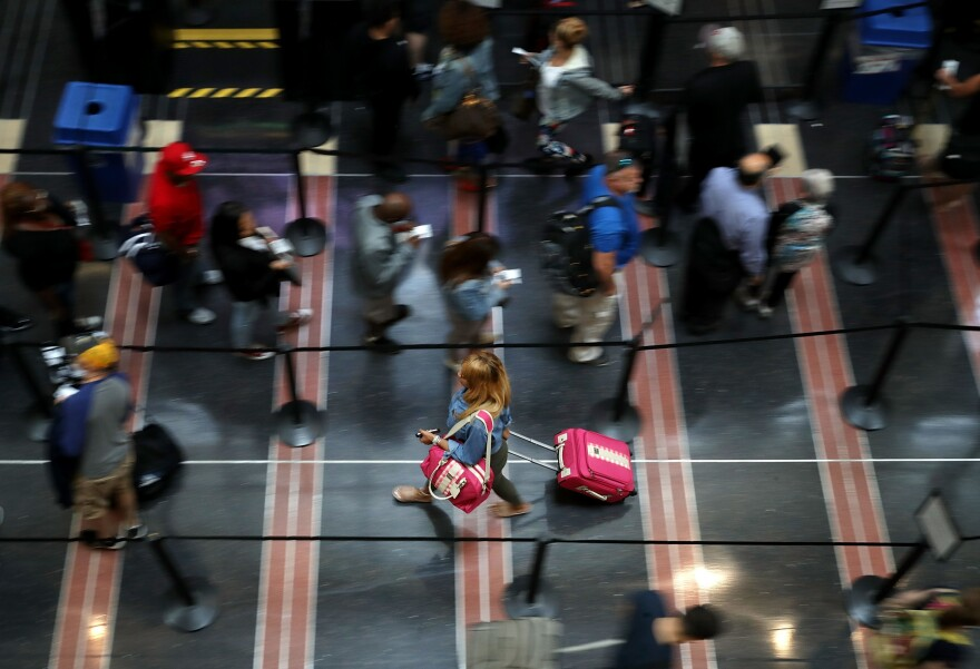 Viruses thrive in the security lines at airports, according to several studies.