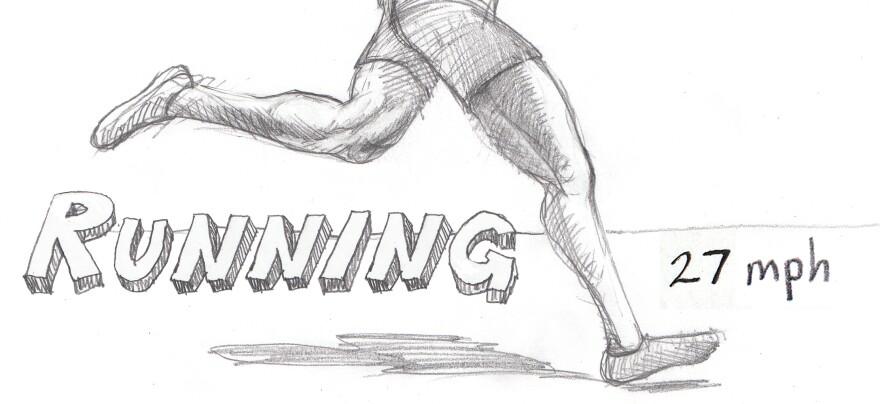 Runner running.